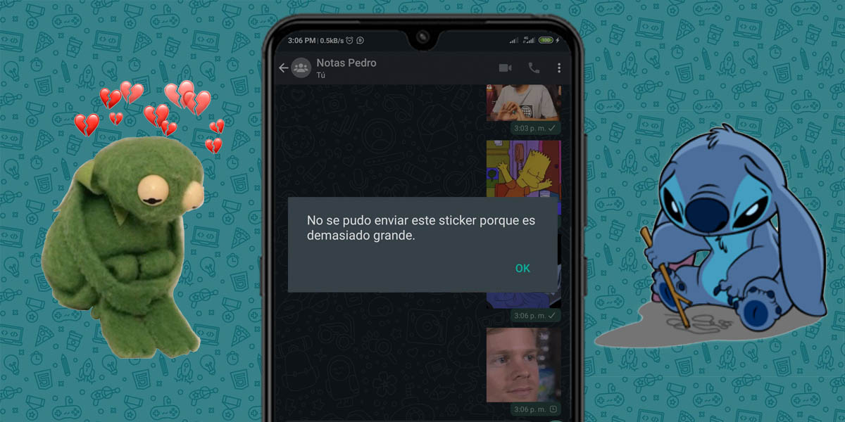 error sticker no enviado whatsapp