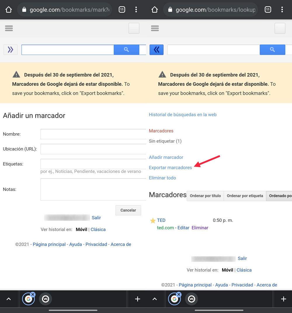 Exportar marcadores de Google