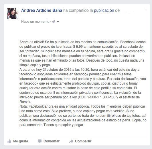 facebook cobrara por las publicaciones privadas