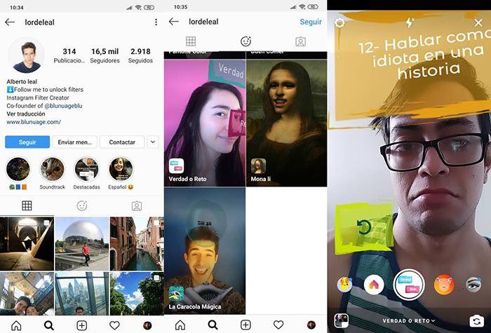 filtro verdad reto instagram
