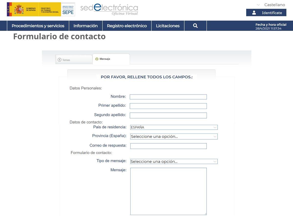 formulario de contacto sepe