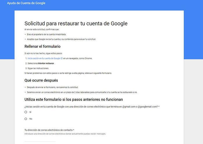 Formulario para recuperar cuenta de Google