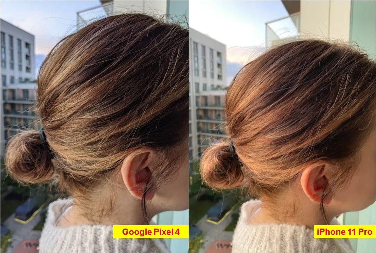 foto cabello iphone 11 pro vs google pixel 4