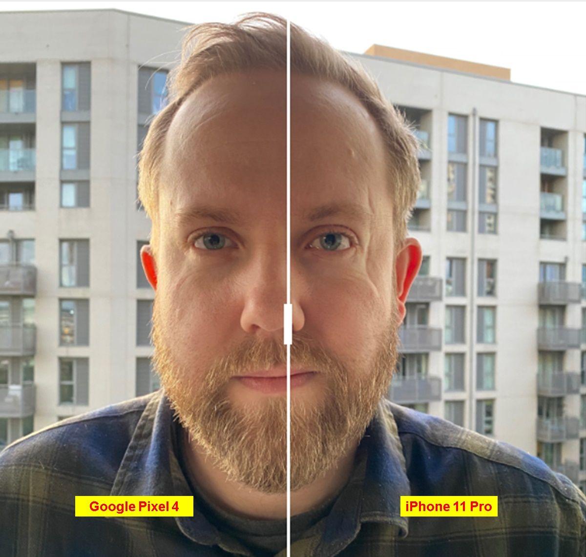 foto retrato humano iphone 11 pro vs google pixel 4