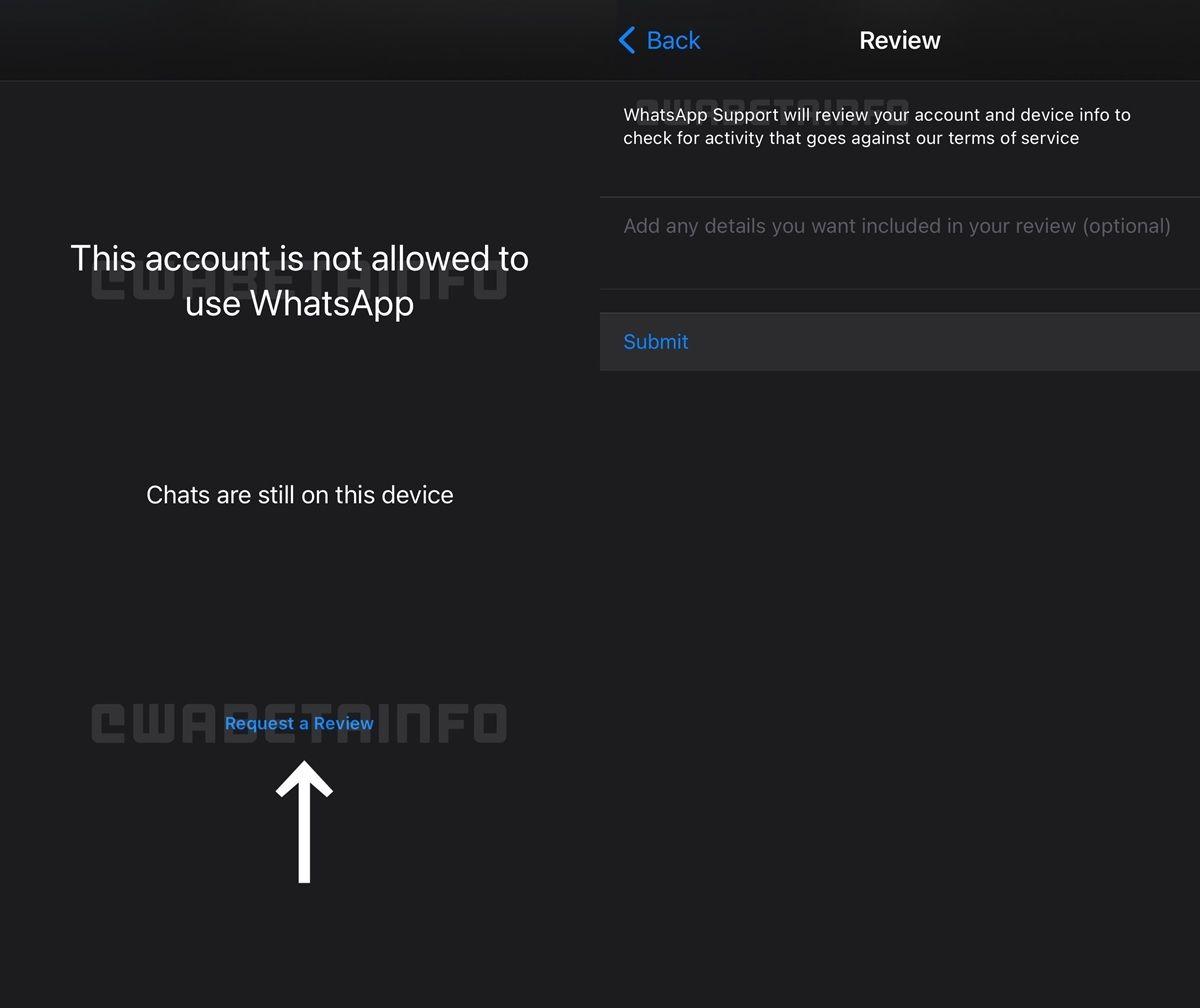 funcion de whatsapp beta para reclamar cuenta baneada