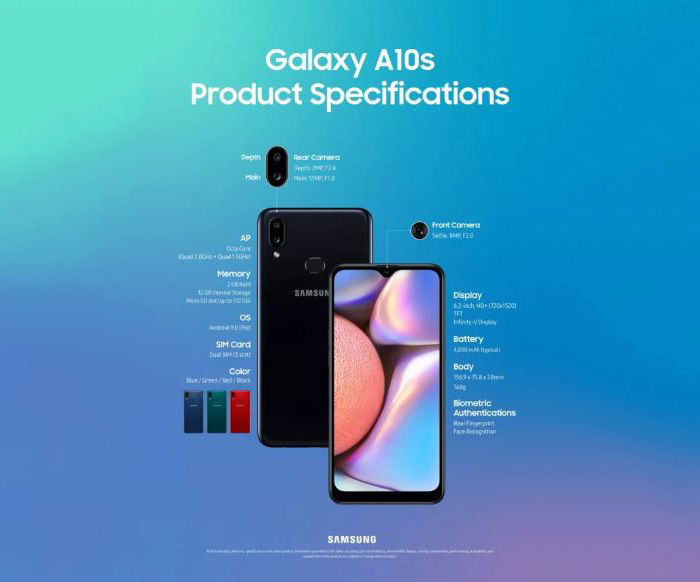 galaxy a10s especificaciones