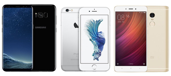 Samsung Galayx S8 Apple iPhone 6s Xiaomi Redmi Note 4