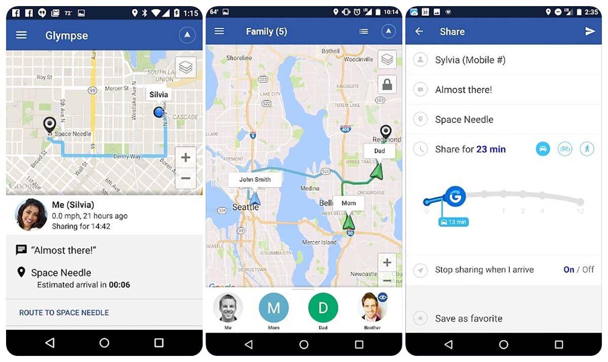glympse aplicacion para compartir direccion gps gratis