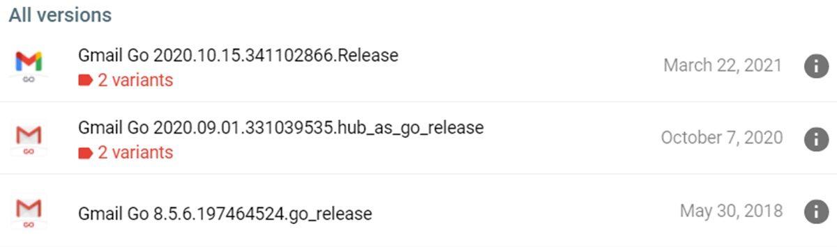 gmail go versiones lanzadas en los ultimos 3 anos