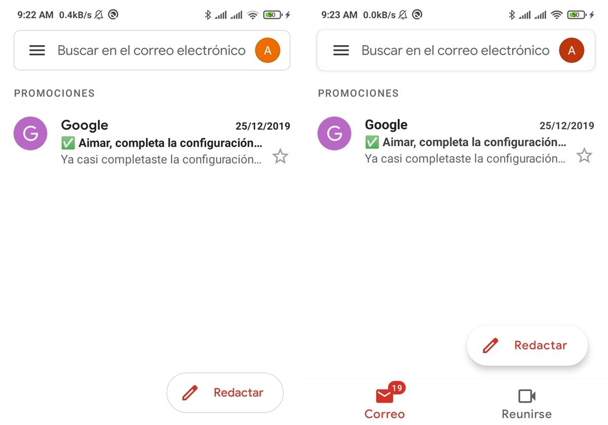 gmail go vs gmail interfaz