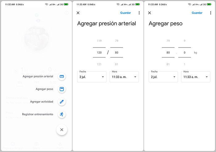 google fit menu