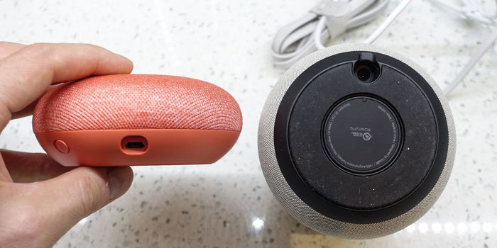 google home vs home mini tamaño