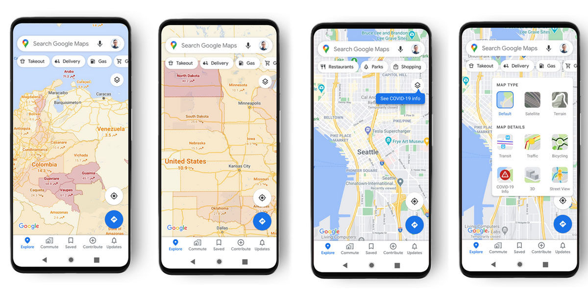 google maps covid-19 info