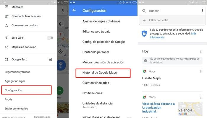 google maps historial
