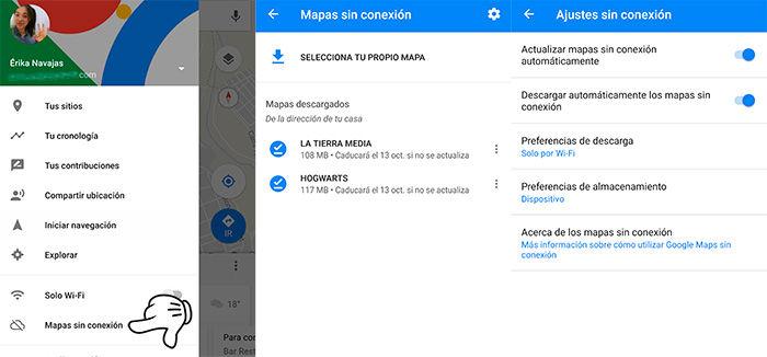 Google Maps sin conexión guardar mapas