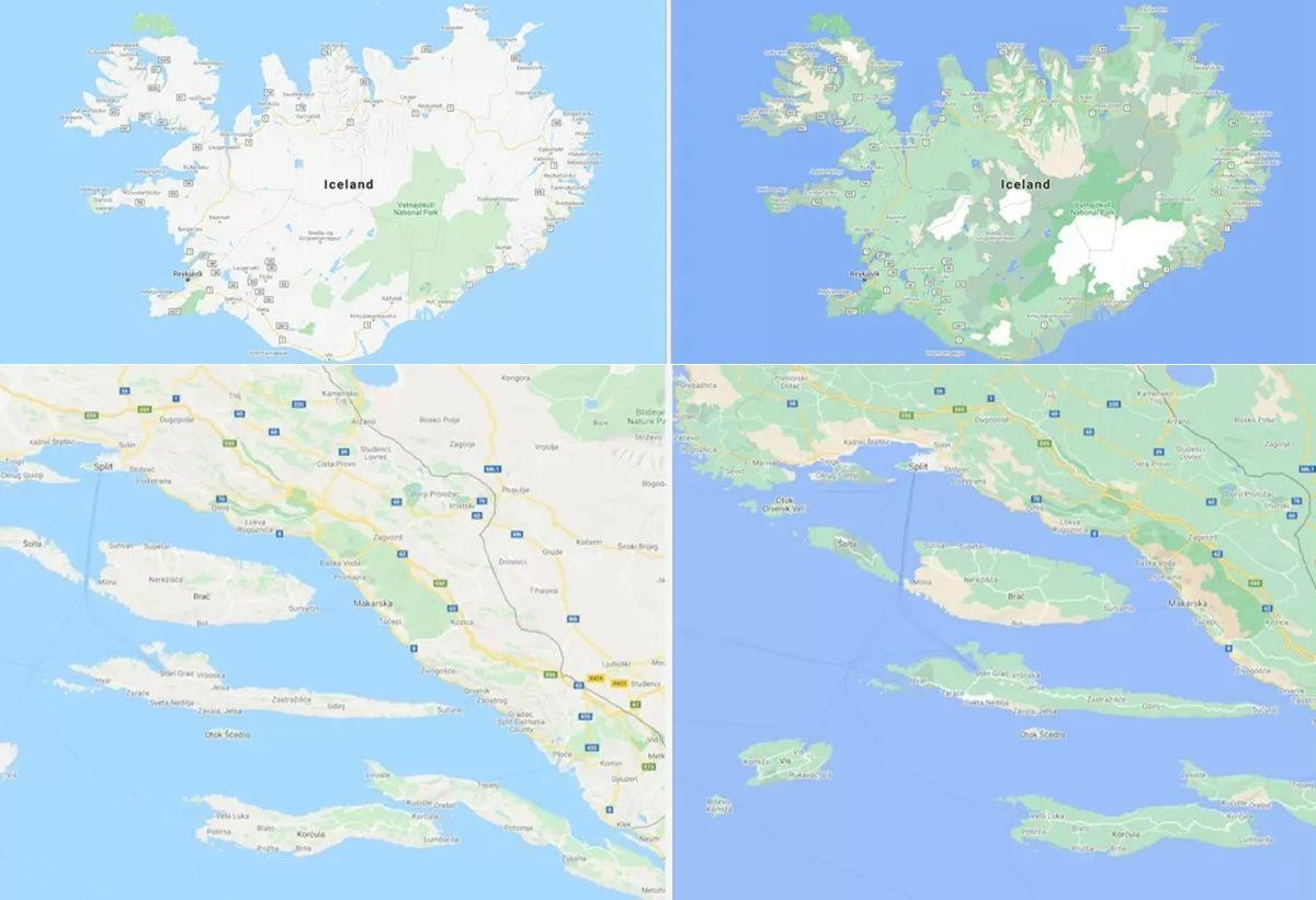 google maps viejo mapa vs nuevo mapa colorido