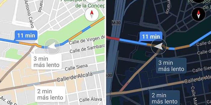 modo oscuro de google maps