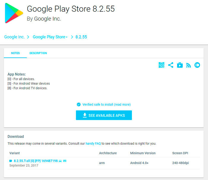Google Play Store descargar APK