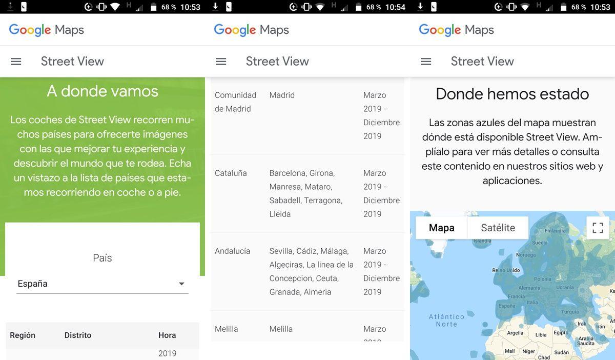 google street view rutas coches