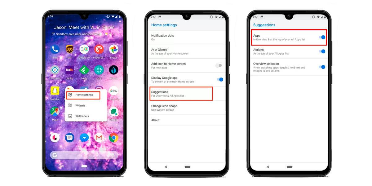 habilitar sugerencias de aplicaciones android 11