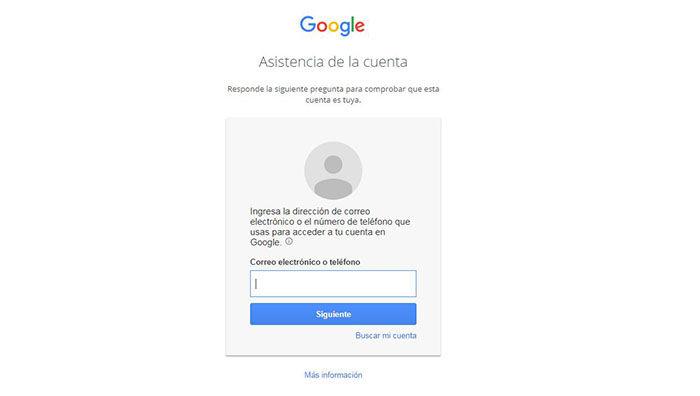 Herramienta de recuperación de cuentas de Google