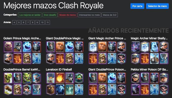 herramienta para crear mazos buenos en Clash Royale