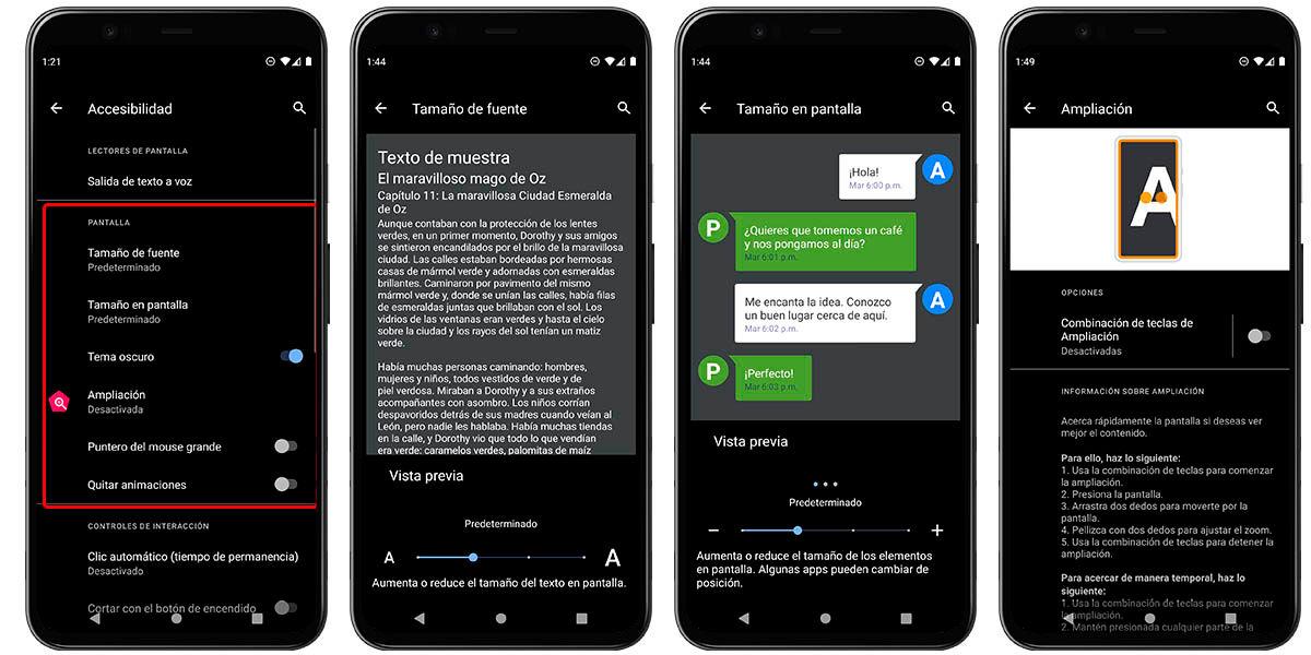 herramientas de accesibilidad de pantalla android