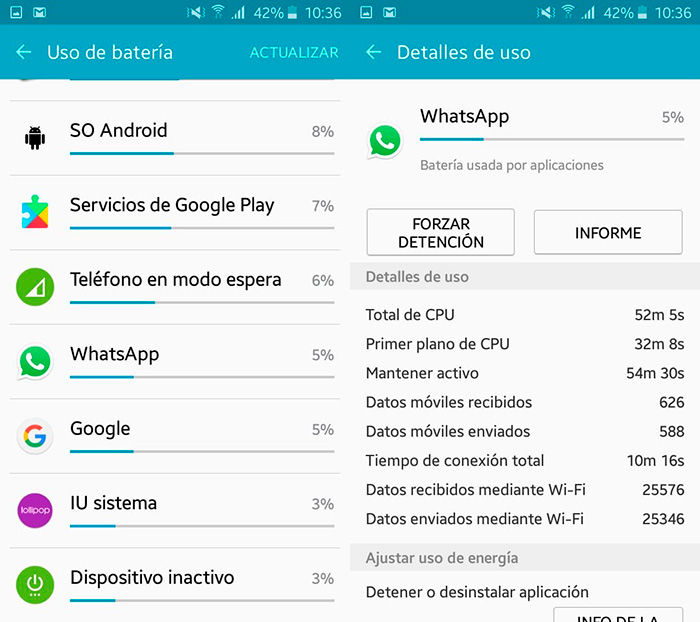 informacion bateria apps android