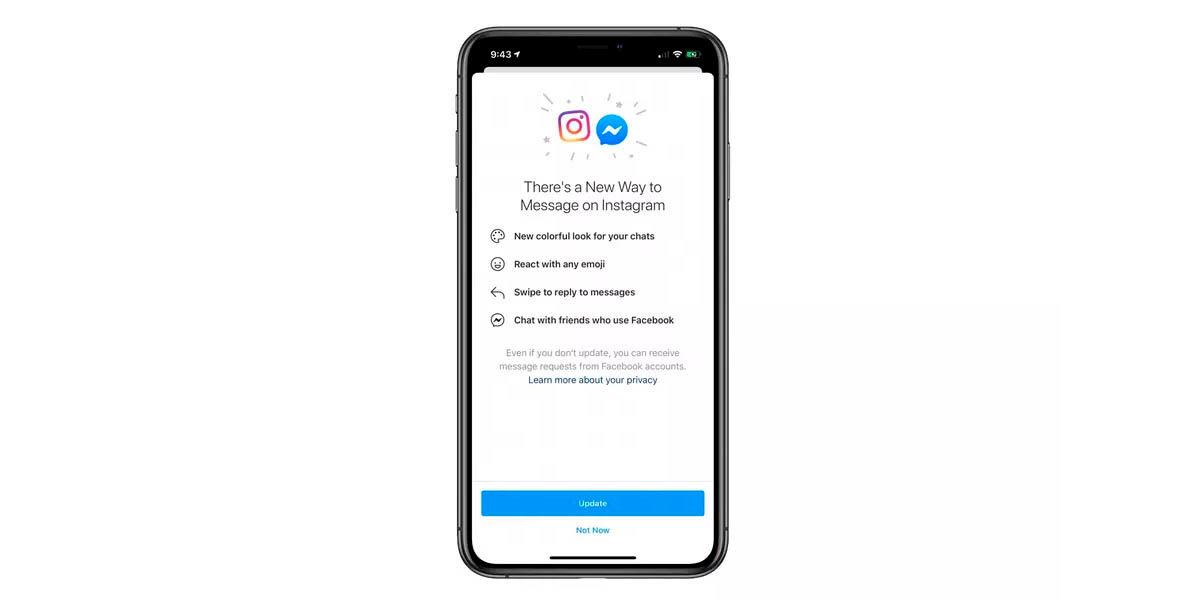 instagram integra mensajes facebook messenger