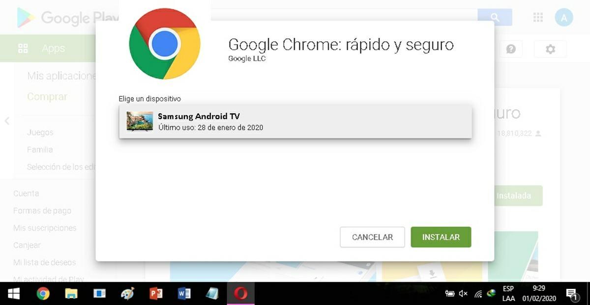 instalar Chrome Android tv con PC