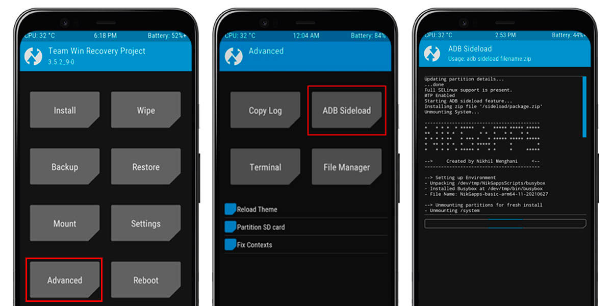 instalar gapps android TWRP recovery
