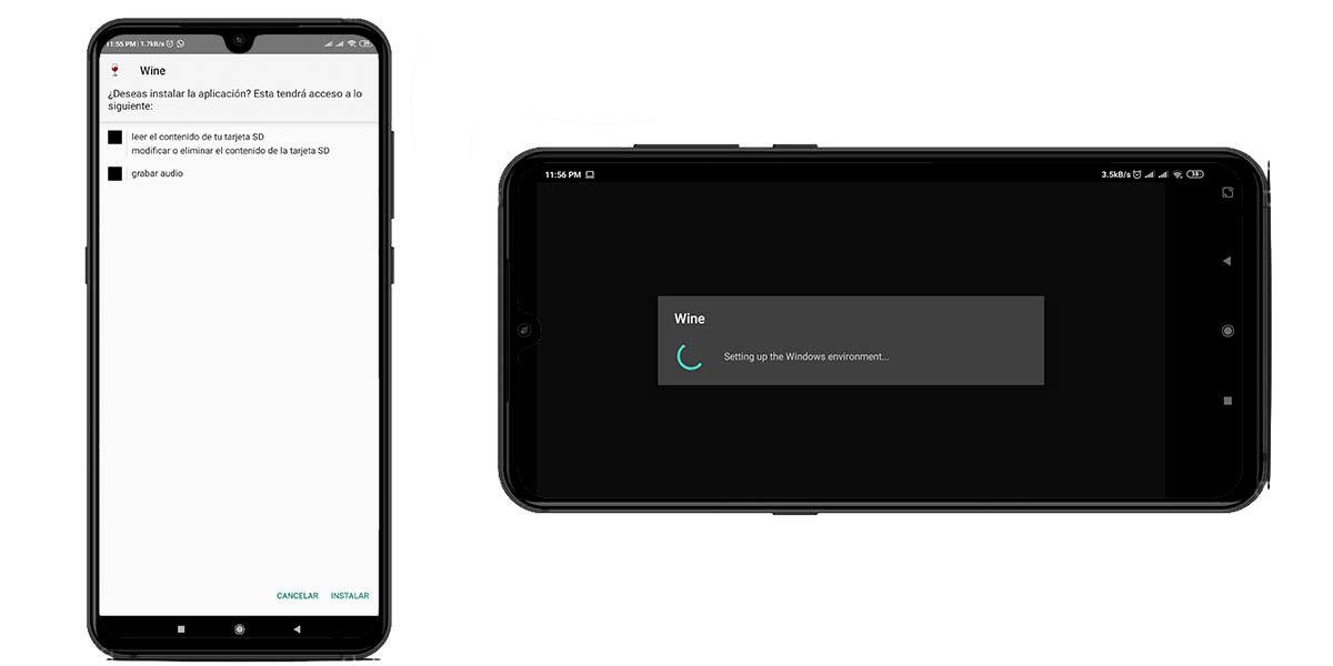 instalar wine android aplicaciones
