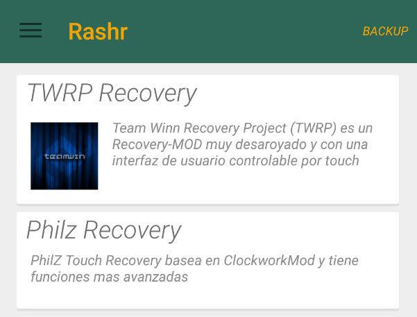 instlar recovery sin pc en android rashr2