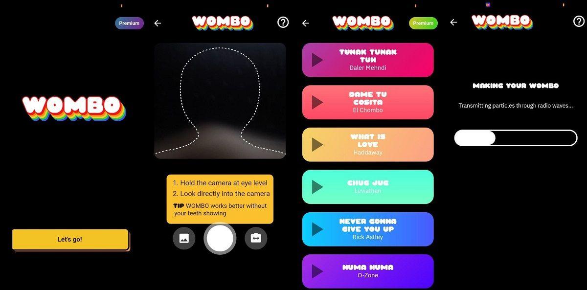interfaz wombo ai