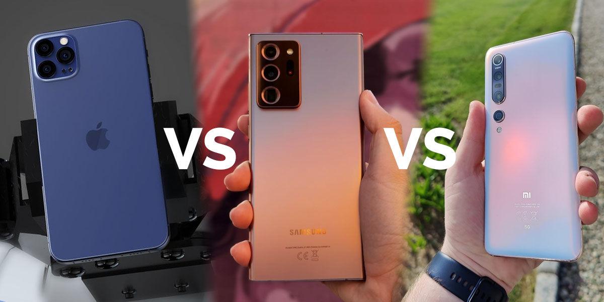 iphone 12 pro max vs galaxy note 20 ultra vs xiaomi mi 10 pro