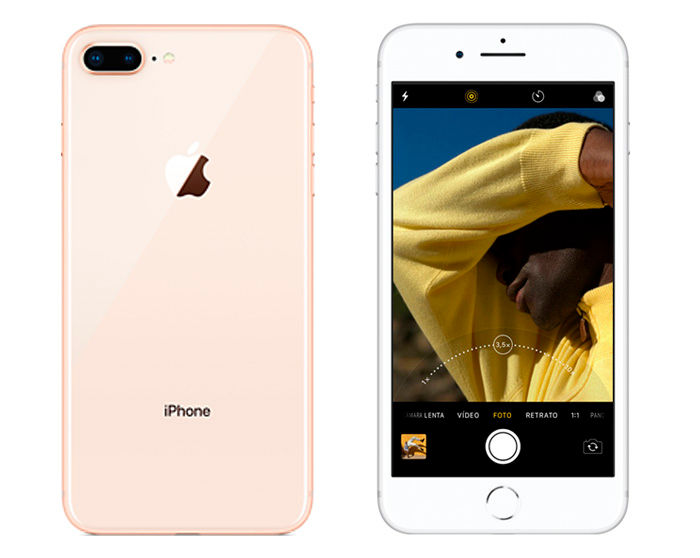 iPhone 8 Plus cámara trasera y pantalla