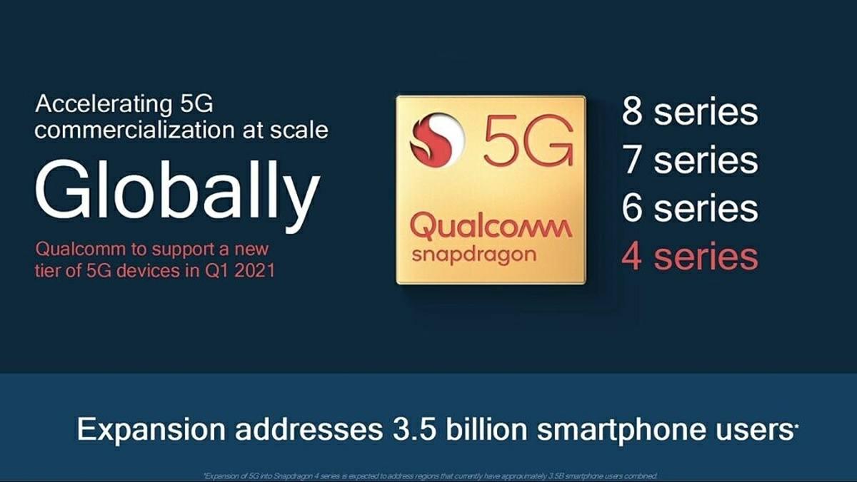 la gama Snapdragon 400 recibira su primer soc con 5g en 2021