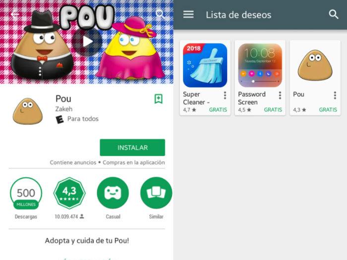 Lista de deseos en Play Store