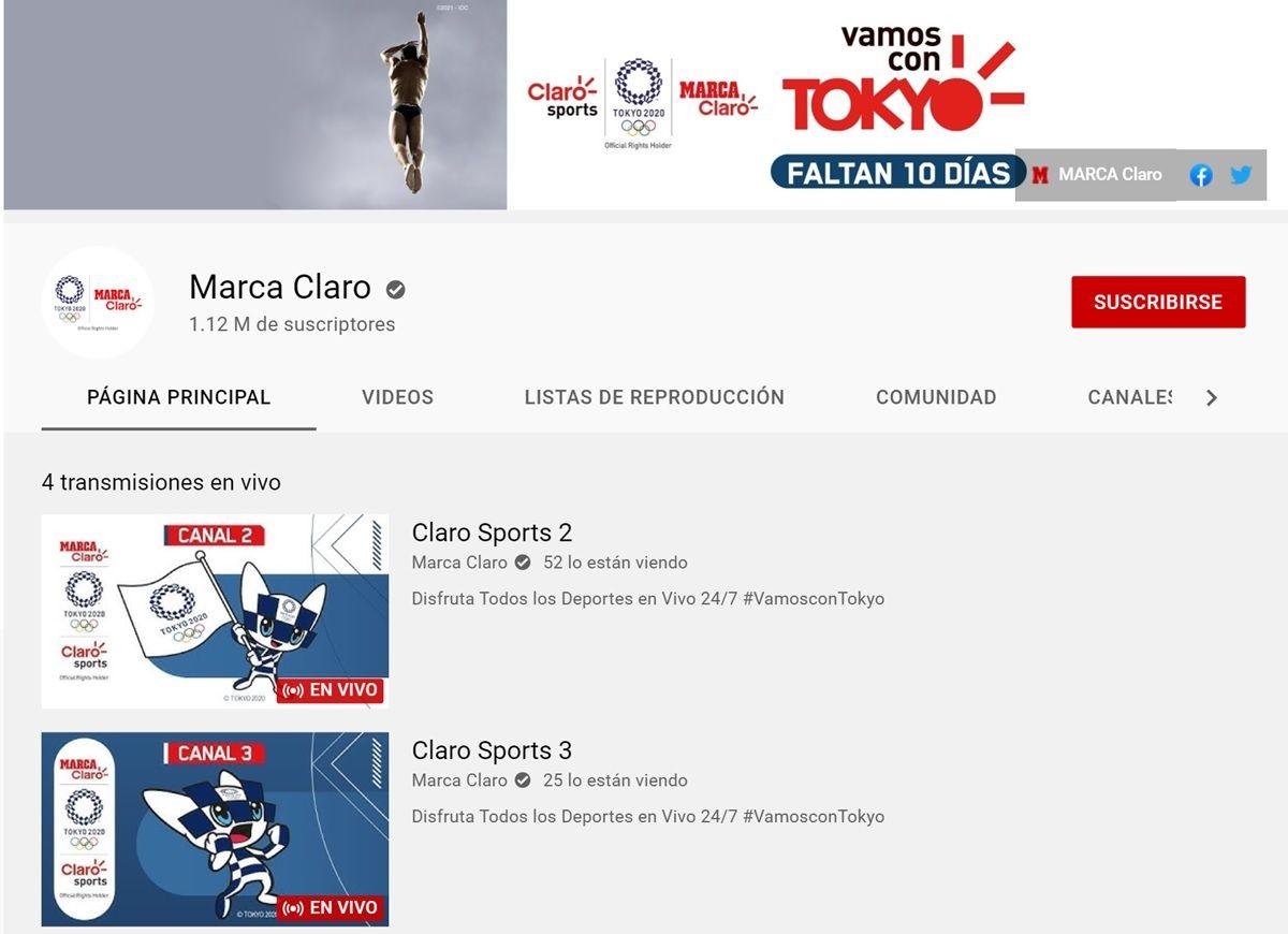 marca claro canal de youtube olimpiadas en vivo