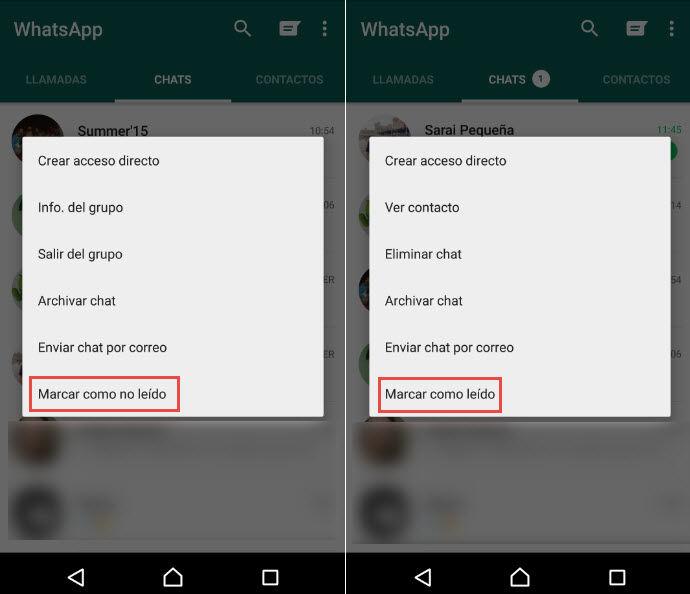 marcar conversacion como no leida WhatsApp