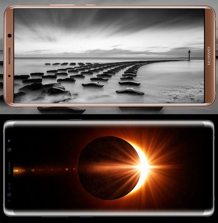 Mate 10 Pro Galaxy Note 8 pantallas