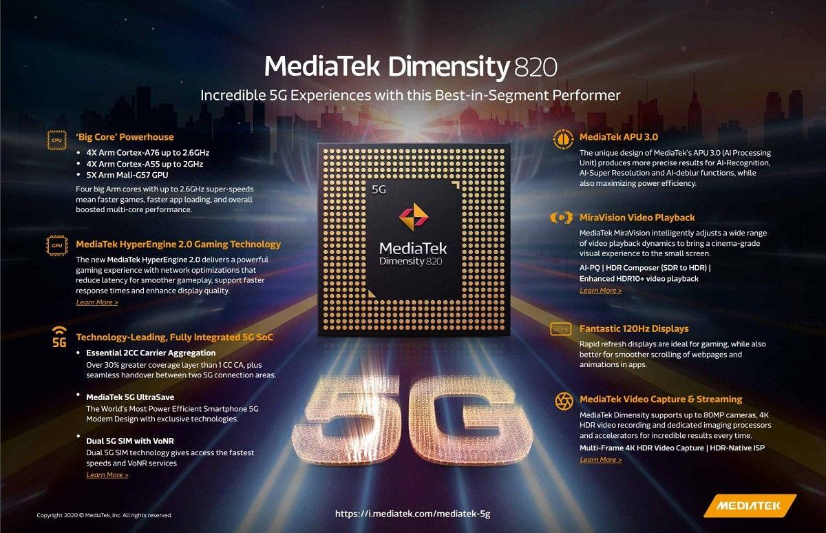 mediatek dimensity 820 especificaciones