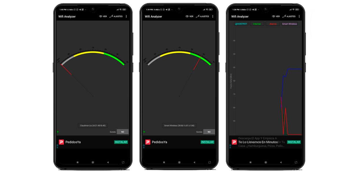 medir intensidad red wifi android con wifi analyzer