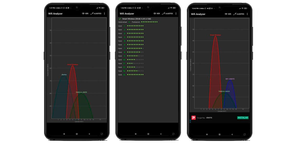medir trafico canales wifi en android con wifi analyzer