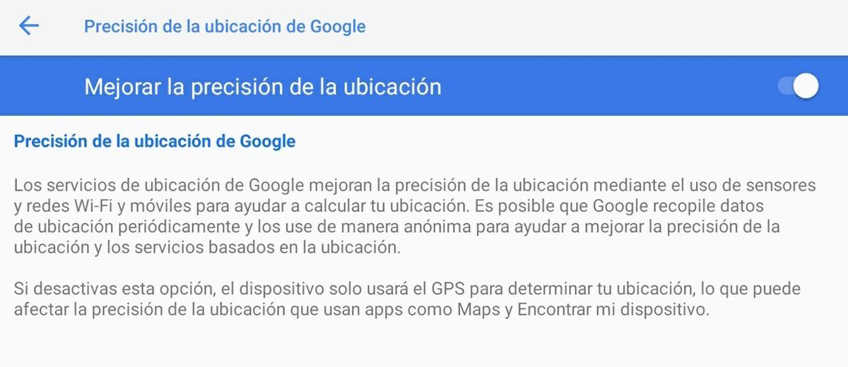 mejorar gps android servicio de precisión de google