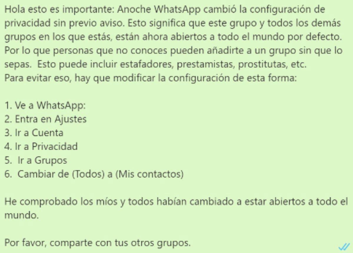 mensaje bulo de whatsapp grupos abiertos