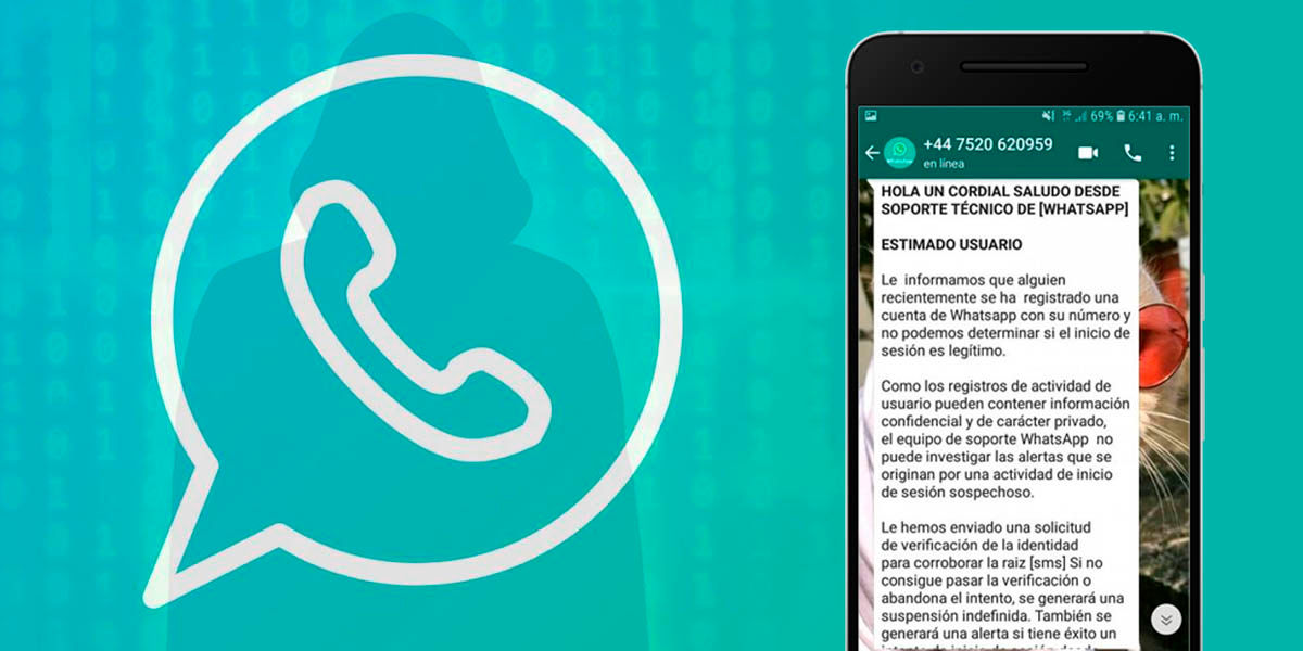 mensaje falso whatsapp robo de identidad phising