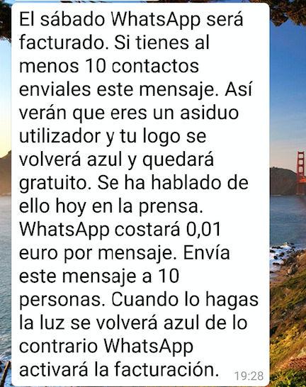 mensaje whatsapp facturado