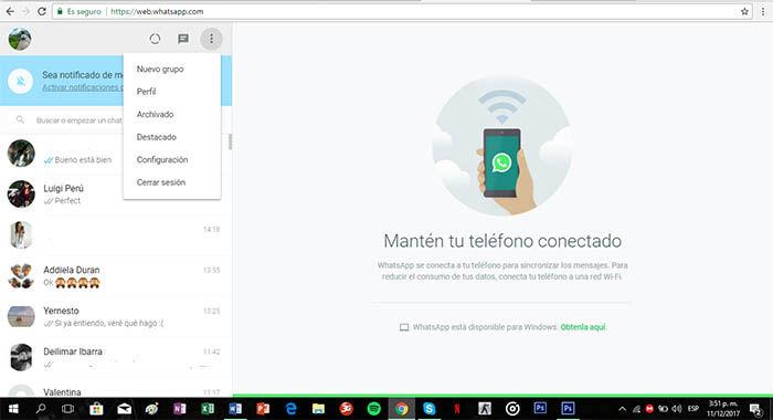 menu de la version web de whatsapp
