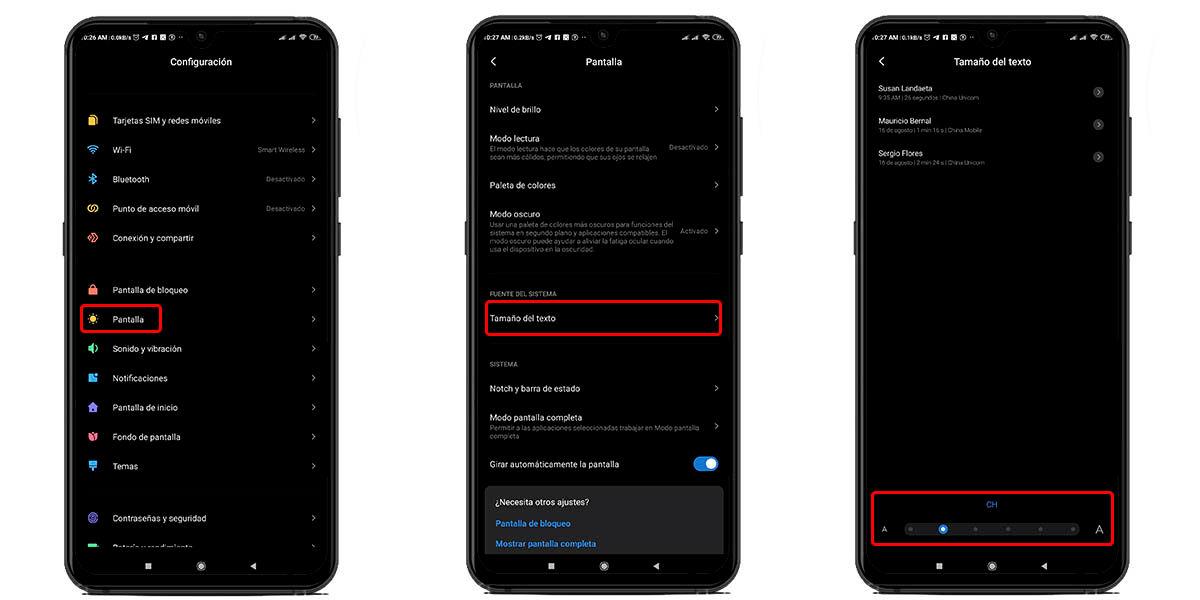 modificar tamaño de la fuente de whatsapp desde los ajustes de android